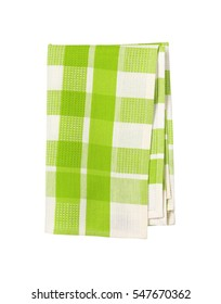 green and white checkered tea towel on white background