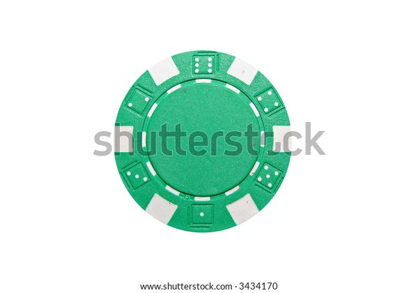 Green and White poker chip