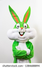 Green and white rabbit mask with big ears. Voluntary work for hospital