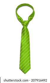 Green and White Striped Tie Isolated on White Background.