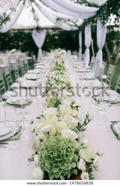 Green White Wedding Table Decor Outside Stock Photo Edit