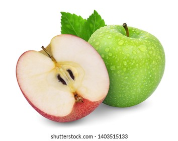 green whole apple and half red apple with green leaf isolated on white background