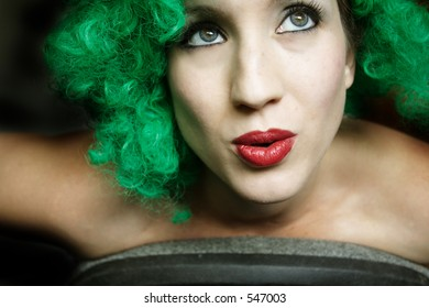 Green Wig Woman-Great for Halloween, St. Patrick's Day, or just anything punk.