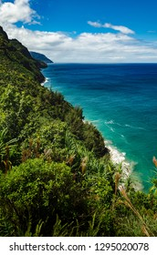 Green wild vegetation, blue water, abrupt shore line and beautiful clouds in the sky in this scene from Kalalau Trail, US