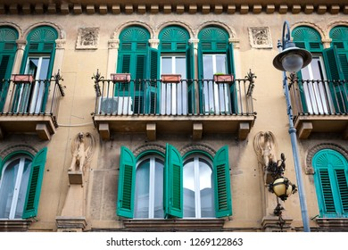 Green windows (shutters), Italian Traditional Architecture (buildings), Messina, Sicily, Messina