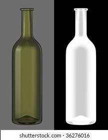 Green Wine Bottle with Bordeaux American  neck