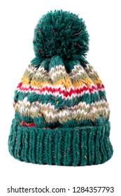 Green winter ski bobble hat isolated white background