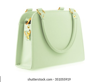 Green women bag isolated on white background