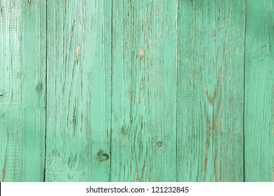 Green wooden fence. Texture.
