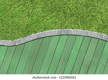 Green wooden garden decking and curved grass lawn border