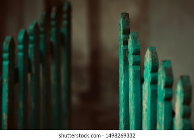 Green wooden made parts of a door isolated unique photo
