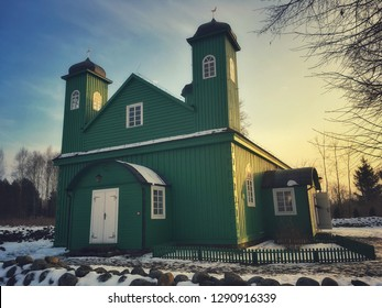 Green wooden mosque in Kruszyniany, small village famous for its Lipka Tatars residents in Podlasie region of eastern Poland