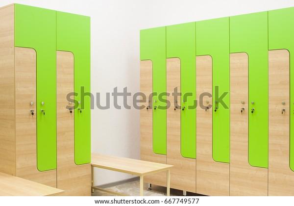 Strange Green Wooden Sports Wardrobe Gym Clothes Stock Photo Edit Machost Co Dining Chair Design Ideas Machostcouk