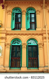 Green wooden windows from singapore china town.