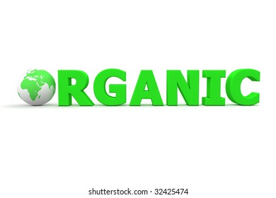 green word Organic with 3D globe replacing letter O