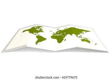Green world map, isolated on white, 3D rendering