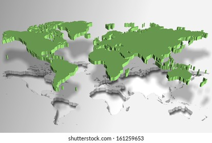 Green world map made as a piece of a puzzle / World puzzle