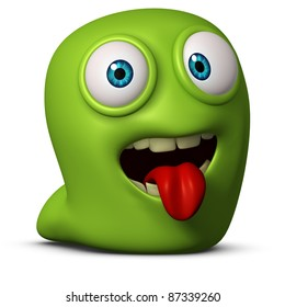green worm put out his tongue