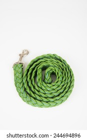 Green Woven Dog Leash Isolated on White