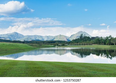 green yard with water lake and blue sky background