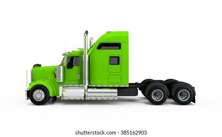 Green yellow american truck isolated on white background