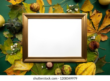 Green yellow autumn harvest around gold blank frame top view background