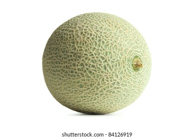 Green & Yellow Cantaloupe or Muskmelon isolated on white background