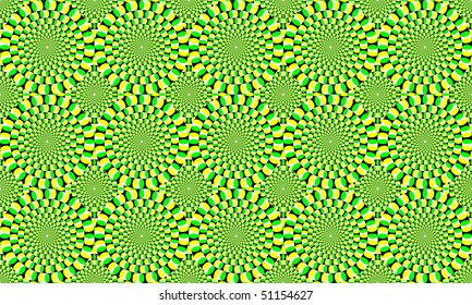 Green and yellow concentric circles, which appear to move. Optical Effect