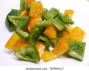 Green and Yellow Diced Bell Peppers