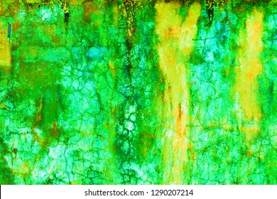 Green & Yellow old paint on concrete floor