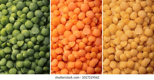 Green, yellow and orange lentils close-up.Texture .Selective focus.Types of lentils