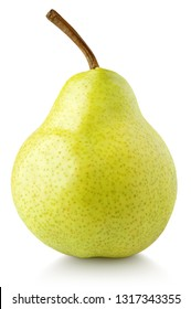 Green yellow pear fruit isolated on white background with clipping path. Full depth of field.