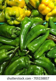 green and yellow pepper harvest. many green peppers.