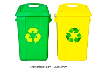 green and yellow recycle bin on isolated white background, clipping path.