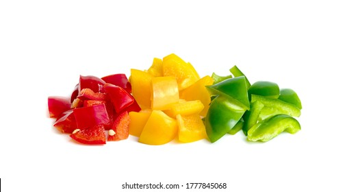 Green yellow red chopped sweet bell pepper isolated on white background