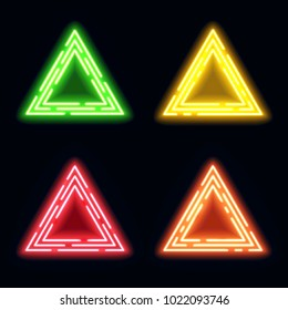 Green yellow red orange neon light triangles set. Shining techno frame collection. Night club 3d banners on dark blue backdrop. Neon abstract tech background with glow. Technology illustration.