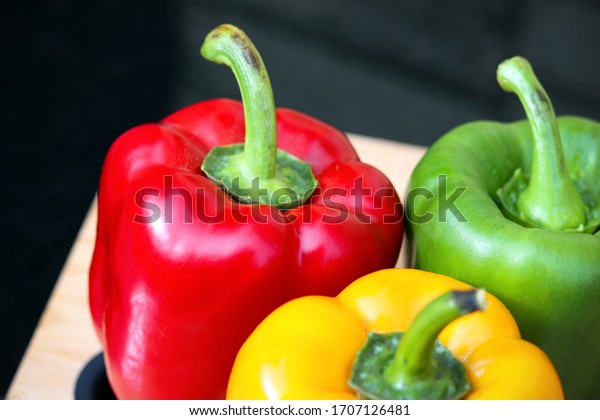 Green, yellow and red pepper