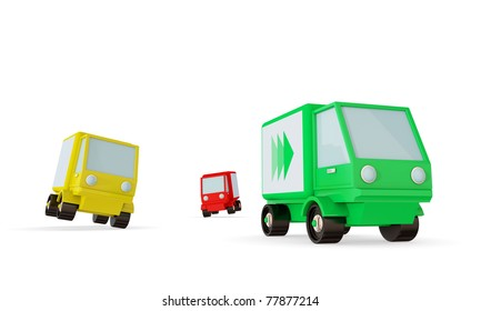 Green, yellow and red trucks on a road. Green one faster than the others. Isolated on white background. 3d rendered
