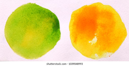 green and yellow round circle abstract watercolor on white background