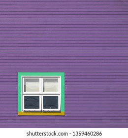Green, yellow and white windows on a purple wooden wall. Minimalism style of the houses of Iles de la Magdalen, Canada, in bright colours with space for text.