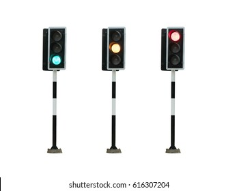 green, yellow,red color traffic light isolated on white background, Real photo