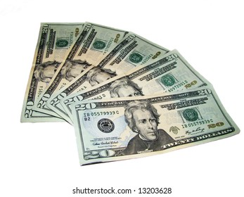 Greenbacks is Five US Twenty Dollar Bills in a fanned out arrangement isolated on a white background
