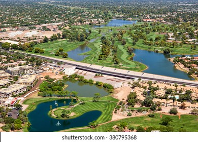 Greenbelt and golf course along the Indian Bend Wash from above in Scottsdale, Arizona