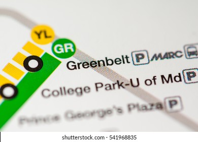 Greenbelt Station. Washington DC Metro map.