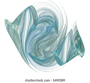 A green-blue gaseous vapor form rendered on a pure white background.