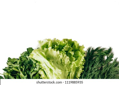 Greenery. Dill, parsley, salad on a white background. For vegetarians. For vegans. The necessary product in any diet. Suitable for salad. Many vitamins and micronutrients.