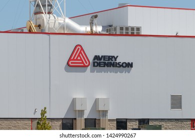 Greenfield - Circa June 2019: Avery Dennison manufacturing plant. Avery Dennison is the largest label manufacturer in the world I
