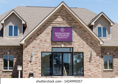 Greenfield - Circa June 2019: Berkshire Hathaway HomeServices Sign. HomeServices is subsidiary of Berkshire Hathaway Energy II