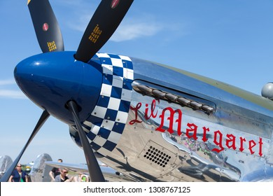 Greenfield, Indiana USA - June 18, 2016: The CAF Warbird Expo, P-51 Mustang, close up of it is nose art and propeller