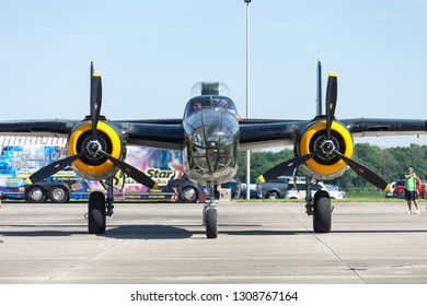Greenfield, Indiana USA - June 18, 2016: The CAF Warbird Expo, B-25 Mitchell on the tarmac during the airshow